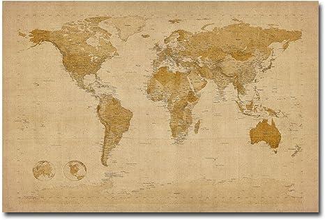 Amazon Com Antique World Map By Michael Tompsett 30x47 Inch Canvas Wall Art Prints Posters Prints