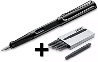 Lamy Safari Fountain Pen (19F) Black + 5 Black Ink Cartridges, (Model: L19BKF)