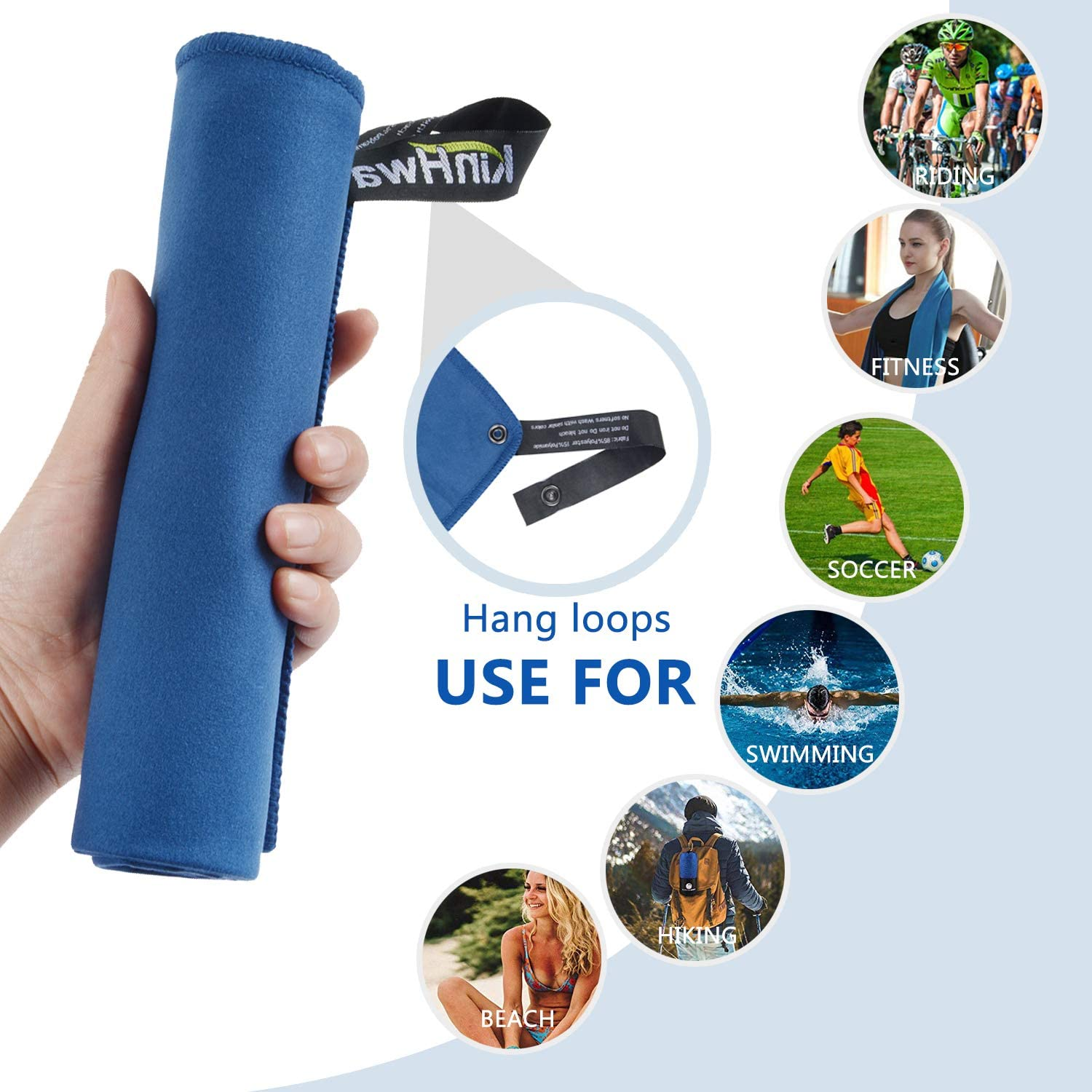 KinHwa Microfiber Workout Towel for Men Women Fast Drying Sweat Towel for Gym Lightweight Sport Fitness Exercise Towels 3 Pack 16Inch x 31Inch