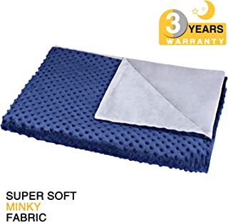 """bedextra Removable Duvet Cover for Weighted Blanket Super Soft Minky Fabric   8 Ties     No Shifting   60""""x 80""""  Queen Size   for Adults Women, Men, Children   3-Year Warranty-Blue"""