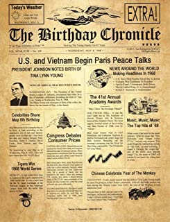 The Birthday Chronicle What Happened on The Month/Year You were Born? Birthdates from 01/01/1900 to 12/31/2016 (Letter Size 8.5 inches X 11 inches Old Parchment Art Background) Frame Optional
