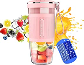 KLOUDI Portable Blender, Cordless Personal Blender Juicer, Mini Mixer, Waterproof Smoothie Blender With USB Rechargeable, BPA Free Tritan 300ml, Home, Office, Sports, Travel, Outdoors Pink