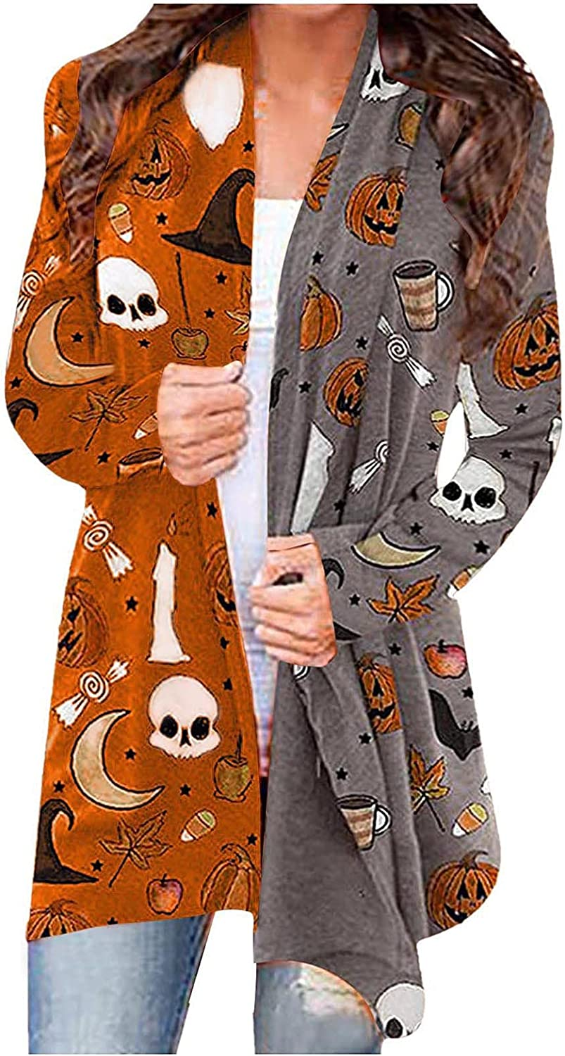 UOCUFY Halloween Cardigan for Women, Womens Blouse Cute Pumpkin Cat Ghost Graphic Tops Long Sleeve Open Front Comfy Coat