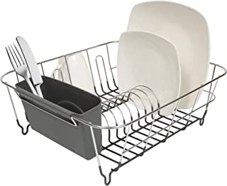 "Sweet Home Collection 2 Piece Dish Drying Rack Set Drainer with Utensil Holder Simple Easy to Use Fits in Most Sinks, 12"" ..."
