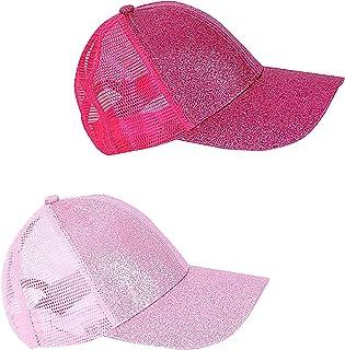 Kids Girls Glitter Ponytail Baseball Hat Baby Messy Buns Sun Caps Visor Cap