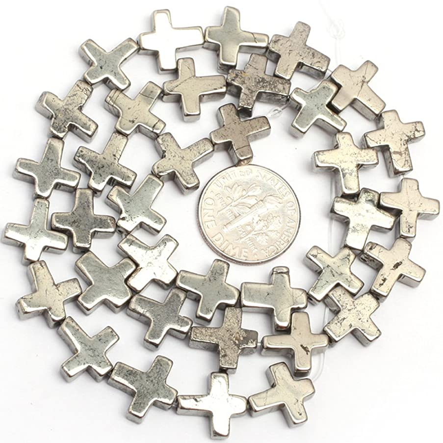 Pyrite Beads for Jewelry Making Natural Gemstone Semi Precious 10mm Cross Silver Gray 15
