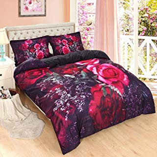 ENJOHOS 3D Red Rose Bedding Full 3PCS Beautiful Flower Print Duvet Cover Set for Girls Bedroom Decor Super Soft Lightweight Comforter Cover Set