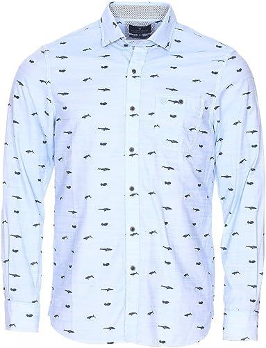FelFaibles United Soldes Chemises Grande Taille Bleu Clair Coton