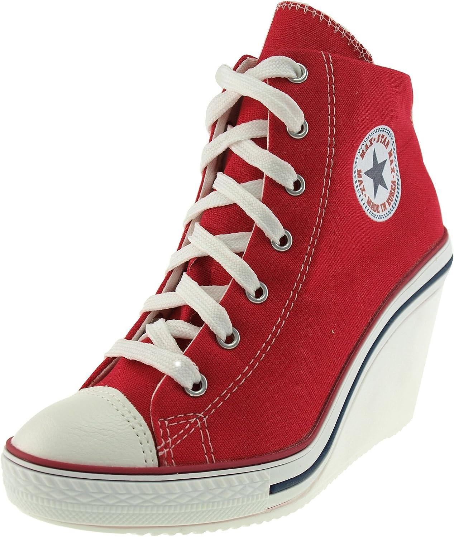Maxstar 775 Back Zipper Canvas Wedge Heels shoes