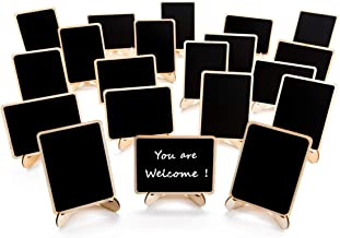 20 Pack Wood Mini Chalkboards Signs with Support Easels, Place Cards, Small Rectangle..