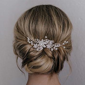 SWEETV Bridal Hair Comb Clip Pin Rhinestone Pearl Wedding Hair Accessories for Bride Bridesmaid, Silver