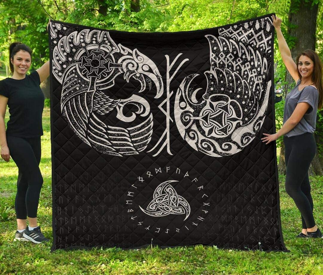 Personalized Raven Super intense SALE Tattoo Quilt Vikings Day Valentine's Price reduction
