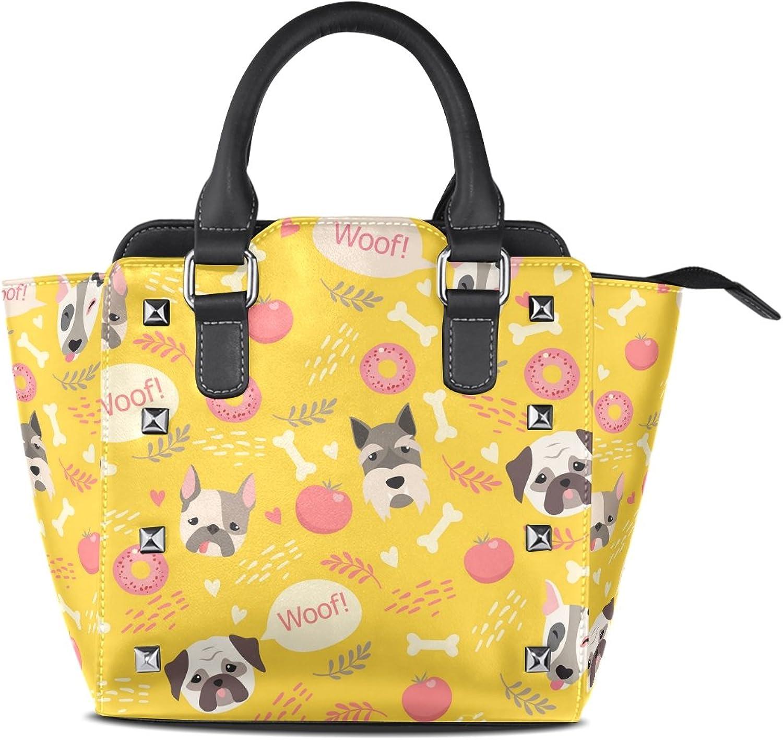 My Little Nest Women's Top Handle Satchel Handbag Cute Dogs Ladies PU Leather Shoulder Bag Crossbody Bag