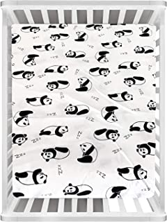 Rajlinen Crib Sheets -100% Organic Cotton Crib Sheets for Infant Babies and Toddler, Fitted Crib Sheets, for Baby Boy & Baby Girl -Panda - Standard Crib Size Pack of 1 (Grey)(Unisex)
