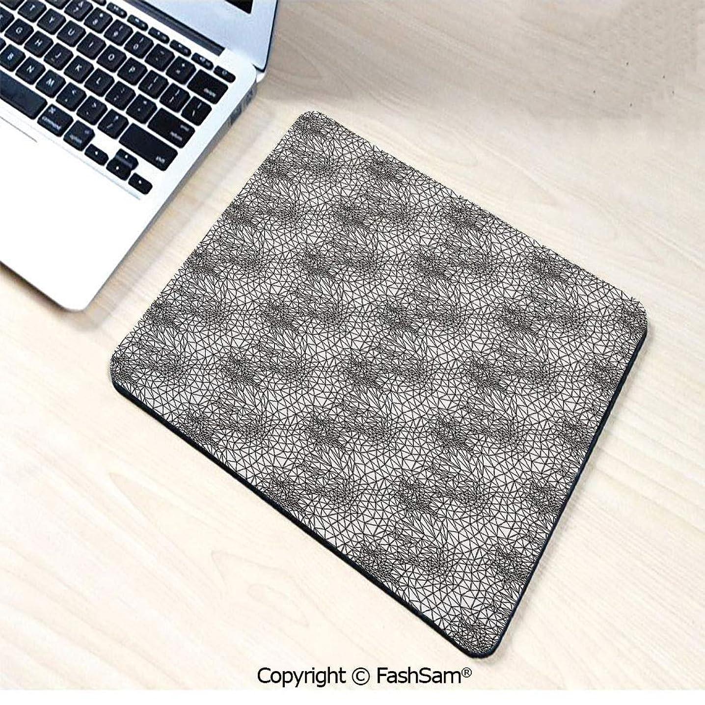 Personalized 3D Mouse Pad Monochrome Triangle Pattern Polygonal Design Connected Stripes Ornate Line Art Decorative for Laptop Desktop(W7.8xL9.45)