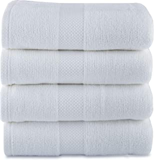 MAURA Premium Bath Towels 100% Cotton 27x54 Ultra Absorbent Quick Dry 4 Pack Soft White Terry Bath Towels Set for Bathroom, Hotel and Spa Quality. (Bath Towel - Set of 4, White)