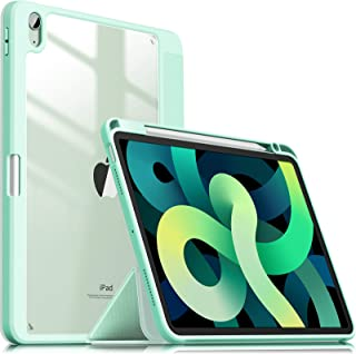 INFILAND Compatible with iPad Air 4 2020 Case with Pencil Holder, Shockproof Case with Clear Transparent Back Fit iPad Air...