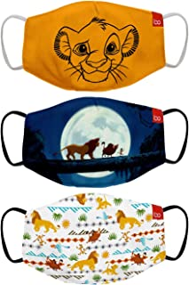 Bon Organik Lion King (OFFICIAL MERCHANDISE) 2 Ply Printed Cotton Cloth Face Mask Bundle For Kids (Set Of 3) (4-8Y)