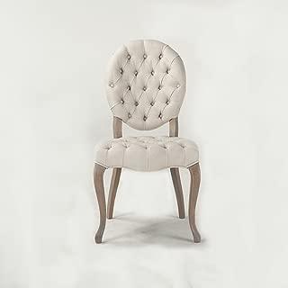 World Interiors Furniture Portia Off-White Tufted Linen Chair