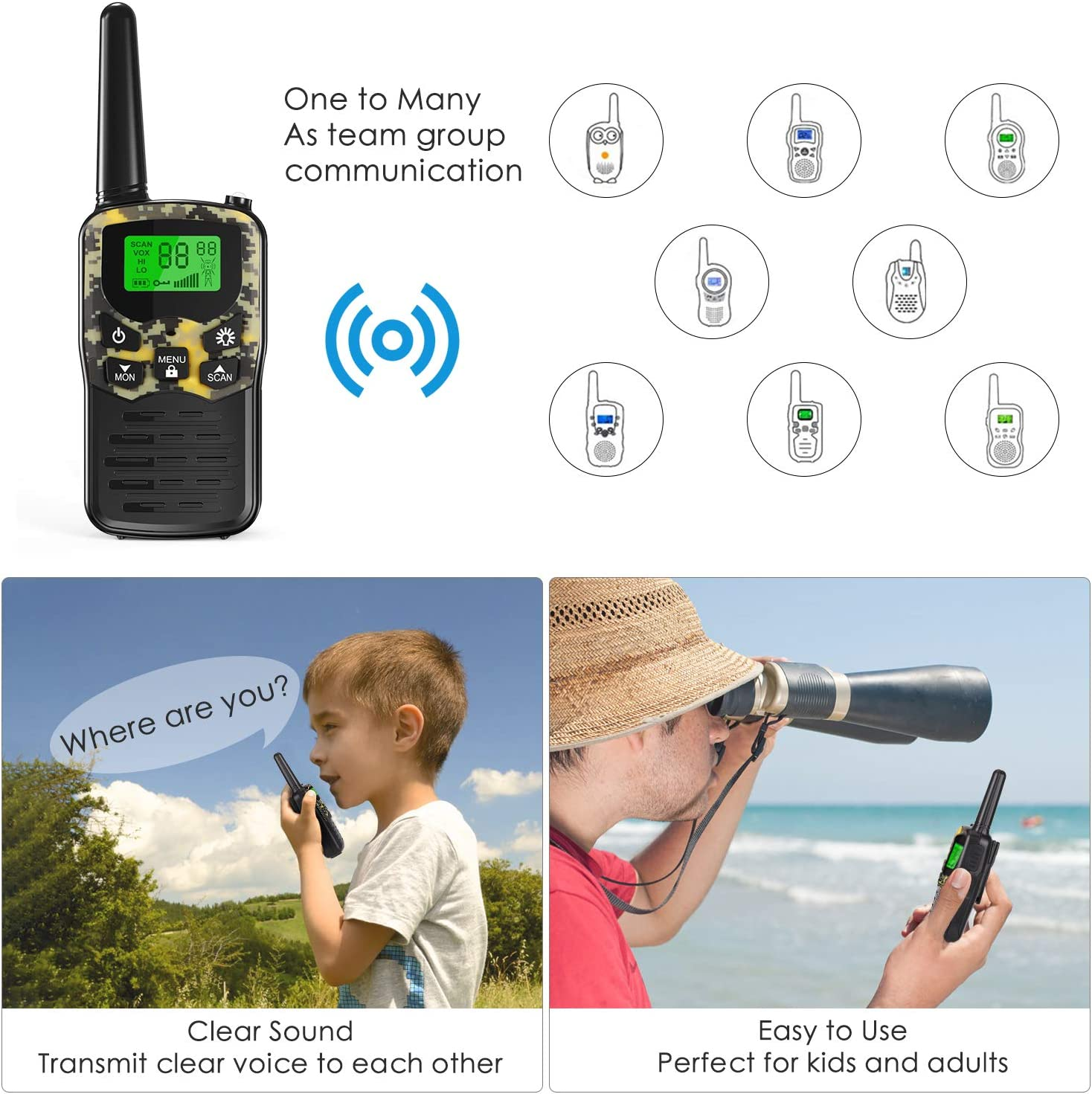 Toy Gifts for Girls and Boys 2 Pack, Red EKOOS Walkie Talkies Long Range for Kids and Adults Two Way Radios Up to 5 Miles in Open Areas with 22 Channels LCD Flashlight for Camping Hiking Fishing