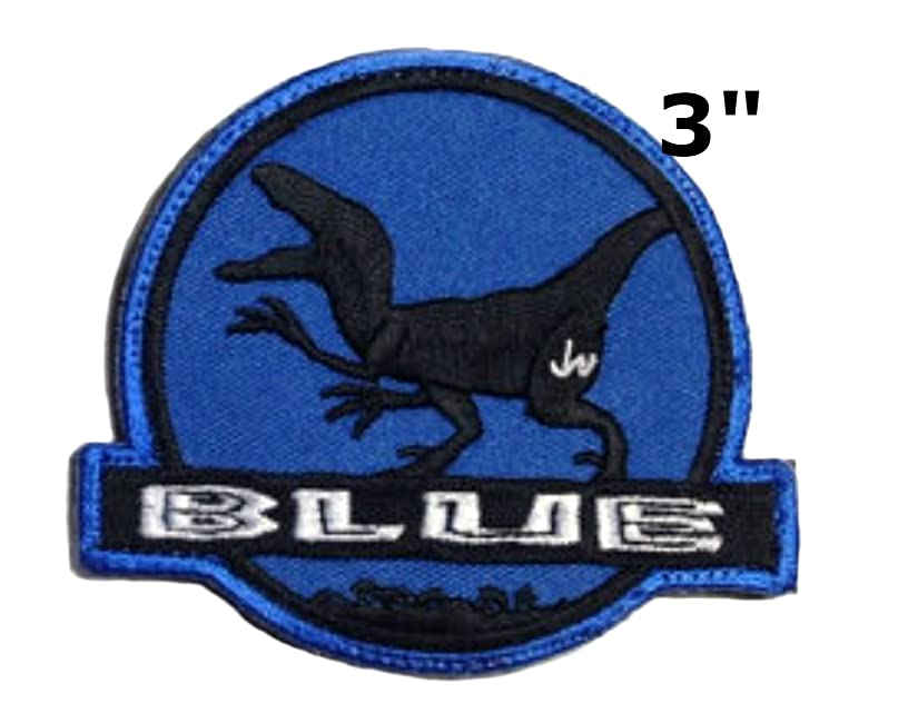 Jurassic World BLUE Raptor Dinosaurs Movie Park Logo Extinct Fossil Embroidered Sew/Iron-on Badge Patches Appliques Application