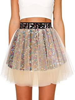 Timormode - Mini tutù in tulle, con paillettes, multicolore