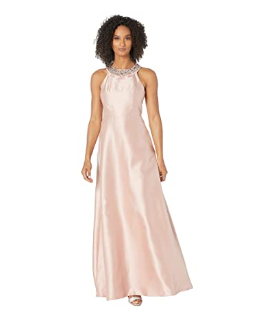 Adrianna Papell Beaded Neckline Mikado Halter Fit and Flare Gown (Blush) Women