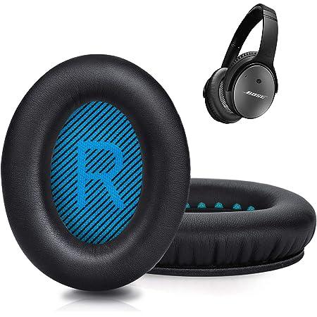 イヤーパッド qc25イヤークッション 交換用 bose ヘッドホン イヤーパッド カバー革新版 Bose Quiet ComfortBose QC 35 QC25, QC15, QC2,BOSE Around Ear AE2,AE2I,AE2W 適用音漏れ防止 PUレザー 1ペア入れ (ブルー)