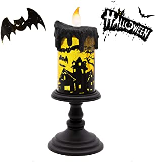 GiveU Spinning Bat Tornado Lamp,Battery Operated Water Glittering Table Centerpiece ,Led Flameless Candle with Timer for Halloween Party and Home Decoration, Black