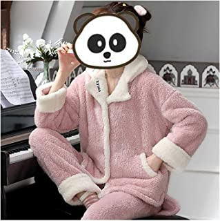 Nightwear Plush Warm Women Pajamas Set,Flannel Nightwear Cardigan with 2 Pockets,Home Wear Top+Trousers Soft,for Indoor Au...