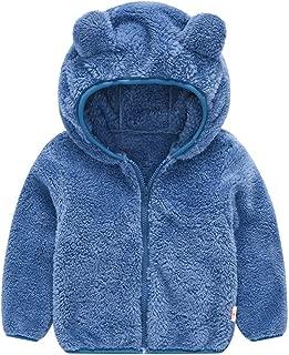 Toddler Kids Baby Fleece Hooded Jacket Cute Bear Ears Thick Winter Warm Zip Up Solid Coat Snowsuit Outwear for 6M-4T
