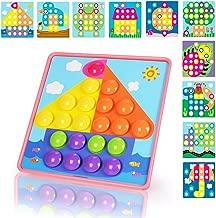 NextX Puzzle 3D Tablero de Mosaico Infantiles con Botones a Forma de Champiñón Sombrero,Juguete Educativo de Primera Infancia- 46 Piezas