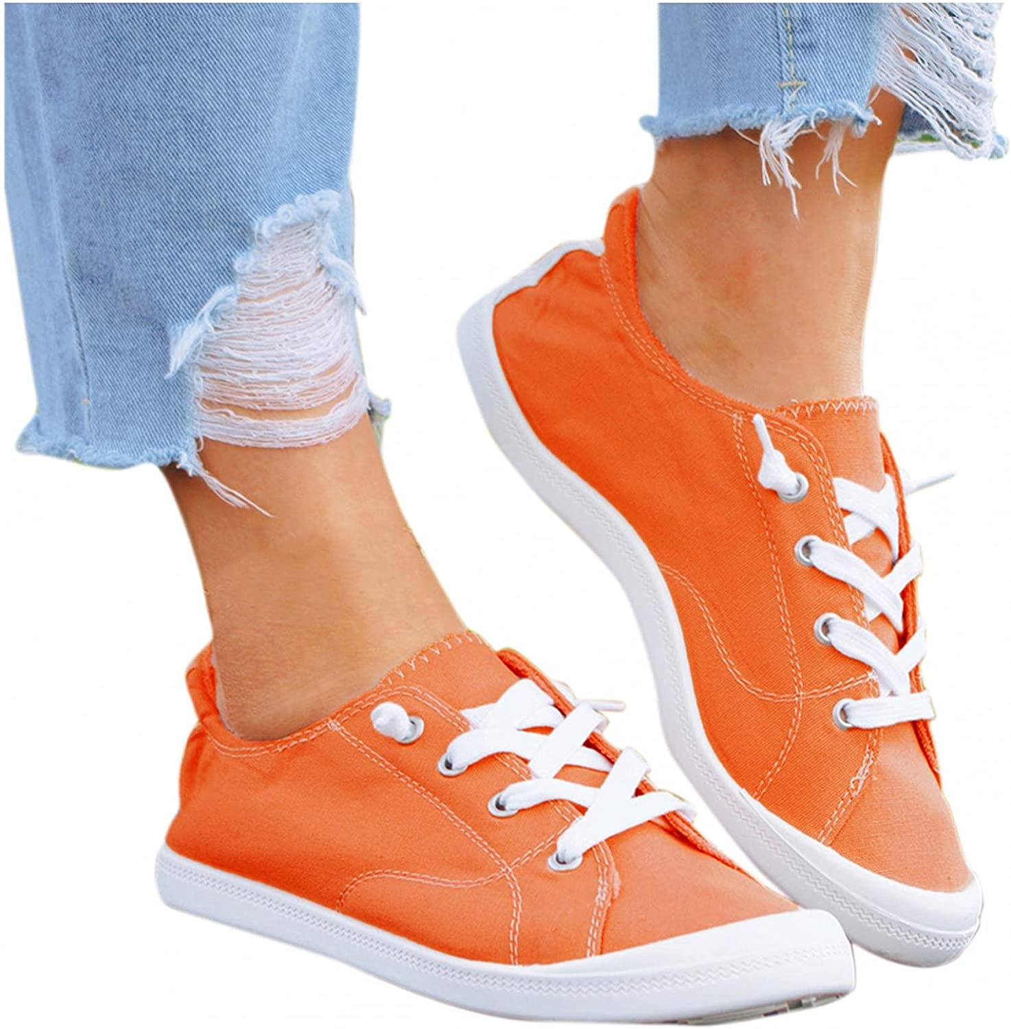 AODONG Sneakers for Women Slip on Summer Lace Up Flat Loafers Shoes Ladies Comfortable Walking Canvas Sneakers