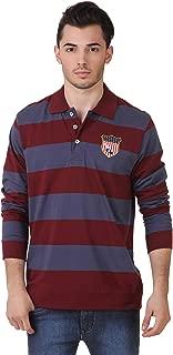 AMERICAN CREW Men's Polo Collar Full Sleeves Striped T-Shirt
