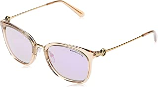 MICHAEL KORS Women's LUGANO 33544V 53 Sunglasses, Light Brown Crystal/Purplemirror