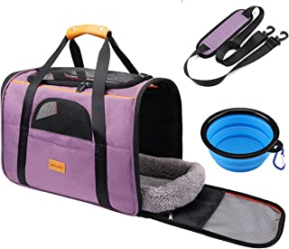 morpilot Pet Travel Carrier Bag, Portable Pet Bag - Folding Fabric Pet Carrier, Travel Carrier Bag for Dogs or Cats, Pet Cage with Locking Safety Zippers, Foldable Bowl, Airline Approved