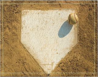 NYMB Sport Decor, Old Baseball on Home Plate Surrounded by Dirt Bath Rugs, Non-Slip Floor Entryways Outdoor Indoor Front Door Mat,60x40cm Bath Mat Bathroom Rugs
