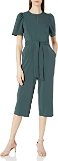 Lark & Ro Amazon Brand Women's Puff Sleeve Split Neck Belted Crop Length Jumpsuit