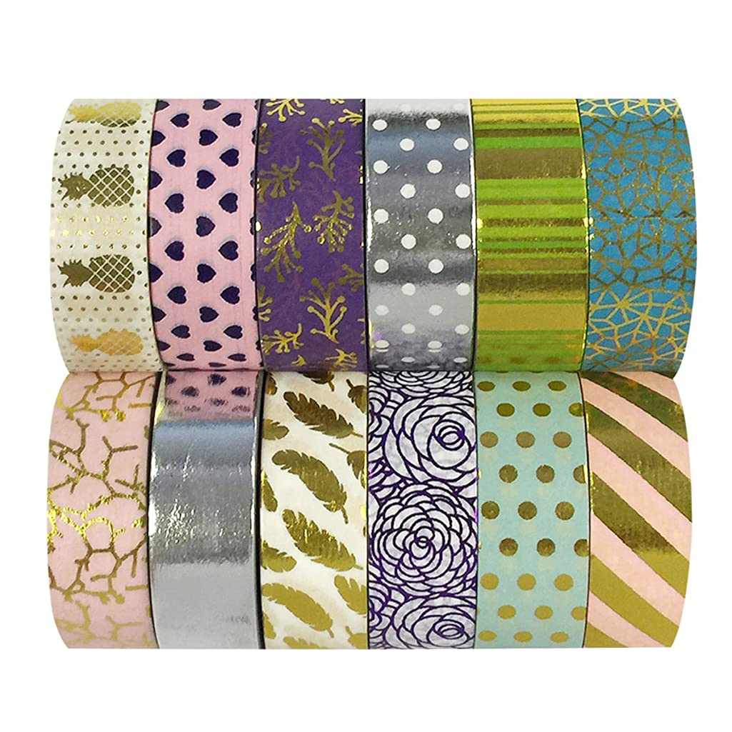 allydrew Washi Decorative Masking Tapes, Set of 12, ADSET61