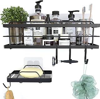 KINCMAX Shower Caddy Bath Shelf with Hooks, Shower Accessories Holder Adhesive Basket Storage Organizer, No Rust Hanging K...