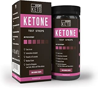 Kiss My Keto 200 Ketone Strips - Urine Test Sticks for Ketogenic, Atkins, Low Carb, Paleo, Diabetes Diets, Urinalysis Tester Kit to Monitor Weight Management and Track Ketosis Levels