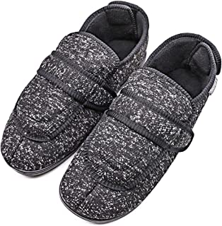 MEJORMEN Mens Diabetic Slippers Edema Shoes with Adjustable Closures Extra Wide House Diabetes Footwear for Swollen Feet Elderly Father Husband