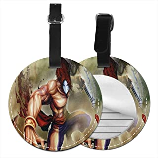 Street Fighter X Tekken Luggage Tags Round PU Leather Luggage Tag For Suitcases Baggage Bags Travel ID Tag Labels Set 2 PCS