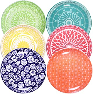 Annovero Dinner Plates, Set of 6 Porcelain Plates, 10.5 Inch Diameter