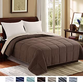 Homelike Moment Reversible Lightweight Comforter - All Season Down Alternative Comforter Twin Summer Duvet Insert Brown Quilted Bed Comforters with Corner Tabs Twin Size Chocolate Brown/Beige