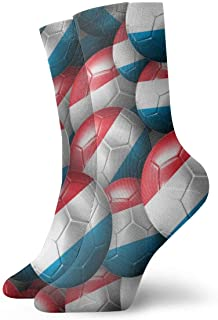 Luxembourg Soccer Balls Men's Essential Casual Cotton Crew Socks
