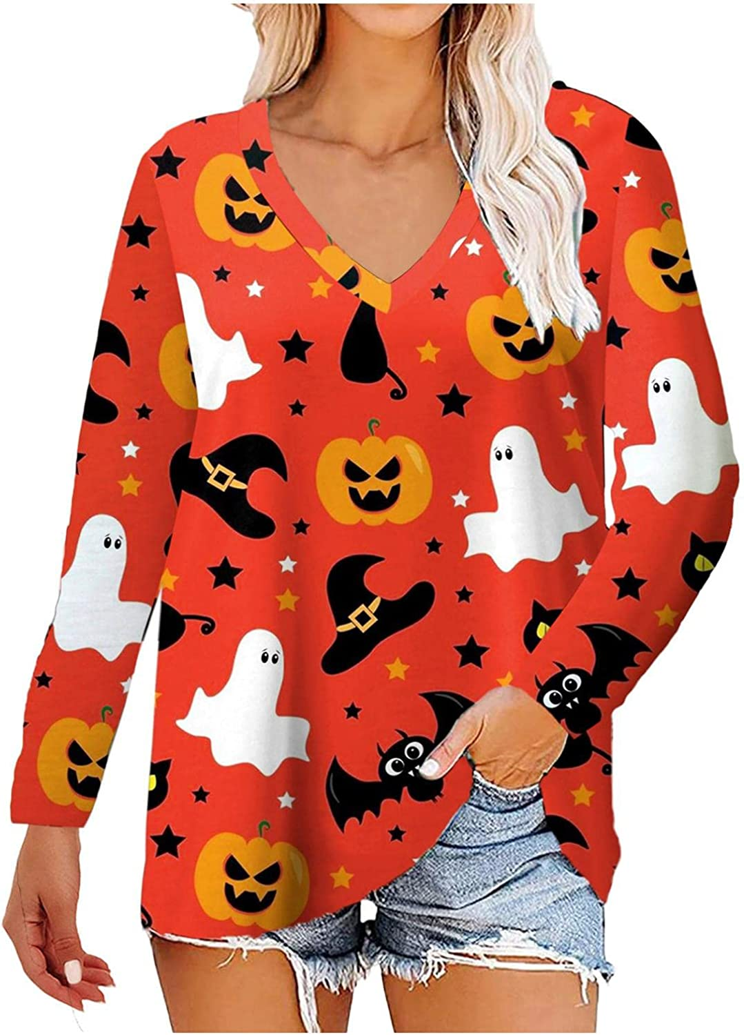 Halloween Pumpkin Face Bat Switch Ghost Sweatshirt Women Long Sleeve V Neck Tops Casual Loose Funny Pullover Blouse Shirts