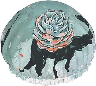 Dwuwarstwowa czapka prysznicowa, letnie botaniczne kwitnące niedokończone rysowanie linii, wielokrotnego użytku wodoodporn...