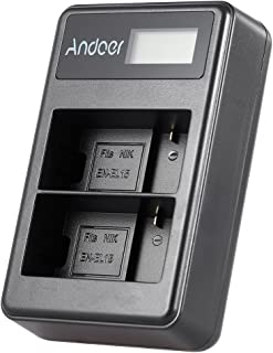 EN-EL15 Rechargeable LED Display Li-ion Battery Charger Pack 2-Slot USB Cable Kit for Nikon 1 V1 D600 D610 D750 D800 D810 ...