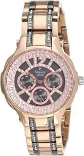 Venice SV4012-IPR-GRe Stainless Steel Stones embellished Grey-Dial Round Analog Watch for Women - Gold